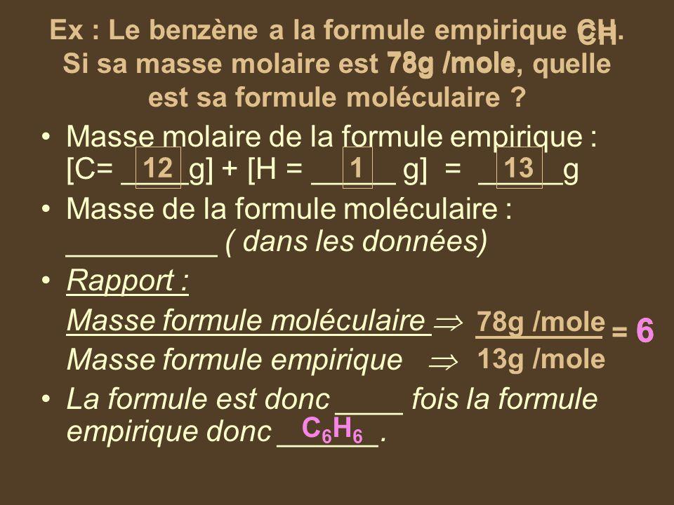 CH Ex : Le benzène a la formule empirique CH. Si sa masse molaire est 78g /mole, quelle est sa formule moléculaire