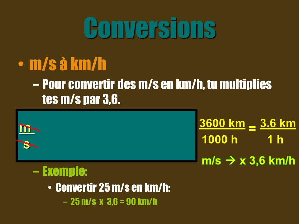 Conversions m/s à km/h m x 1km x 3600 s s 1000m 1h =