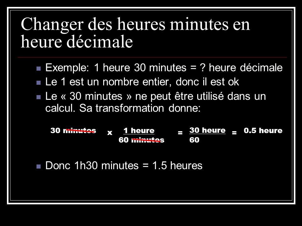 Changer des heures minutes en heure décimale