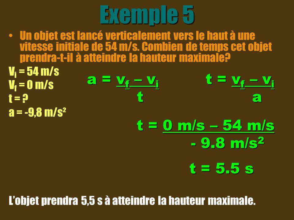 Exemple 5 a = vf – vi t t = vf – vi a t = 0 m/s – 54 m/s - 9.8 m/s2