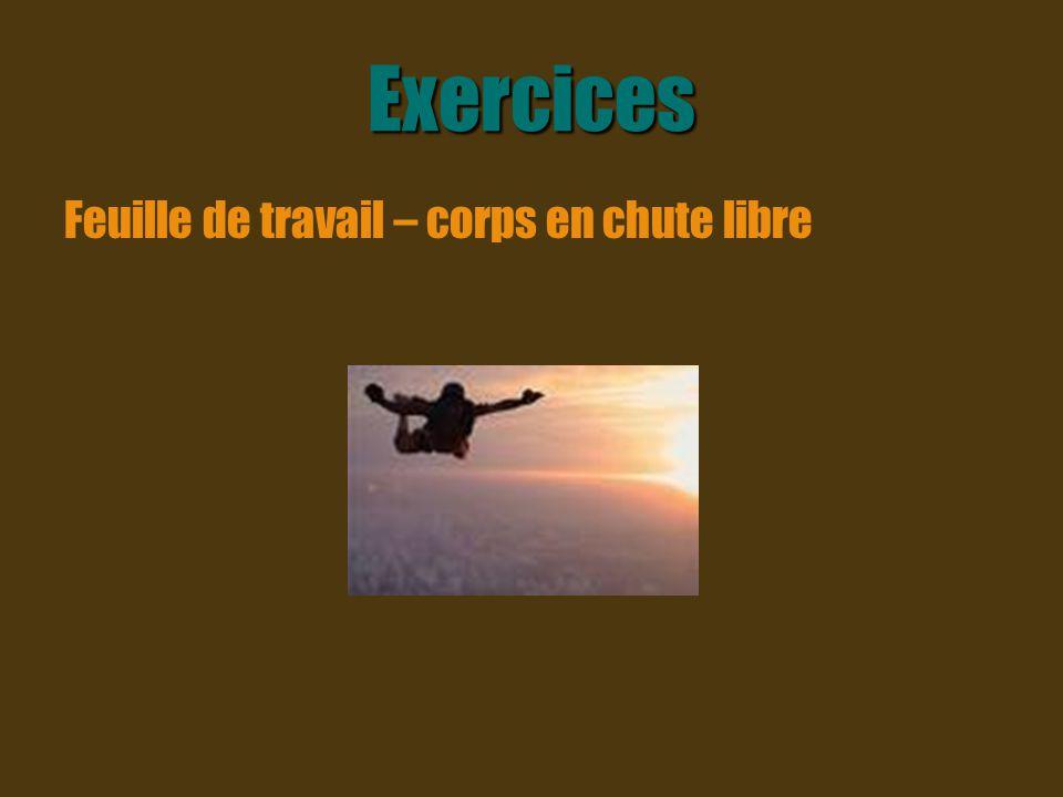 Exercices Feuille de travail – corps en chute libre