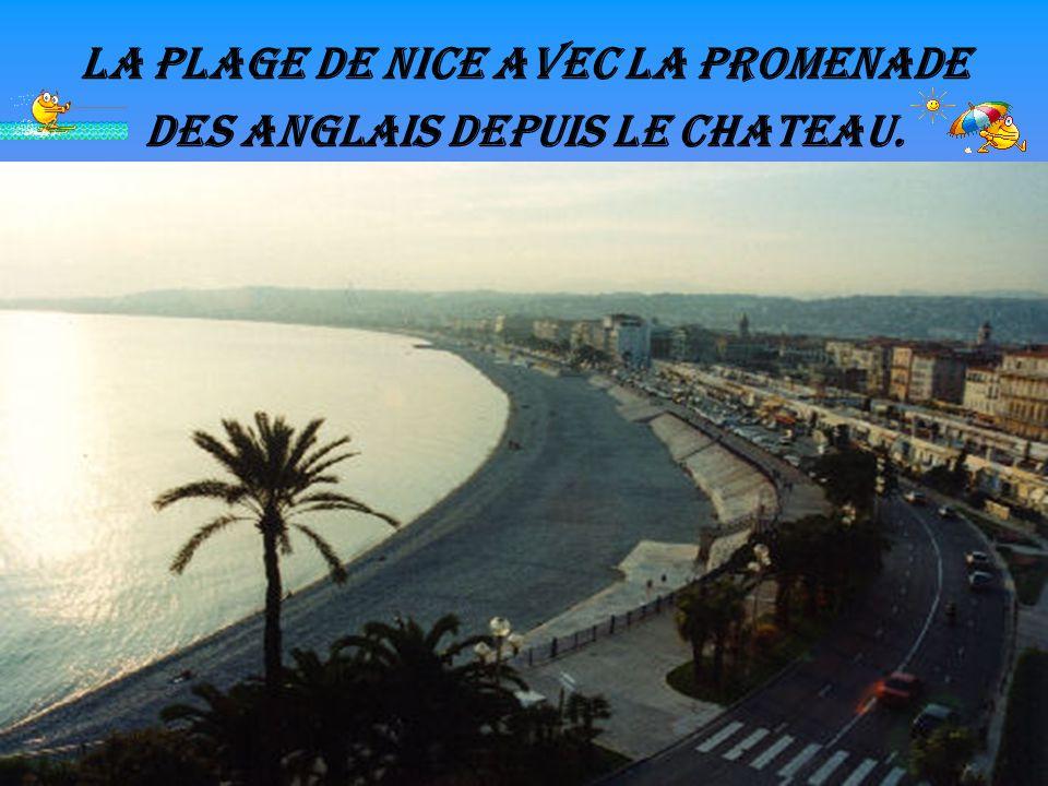 La plage de Nice avec la promenade des Anglais depuis le chateau.
