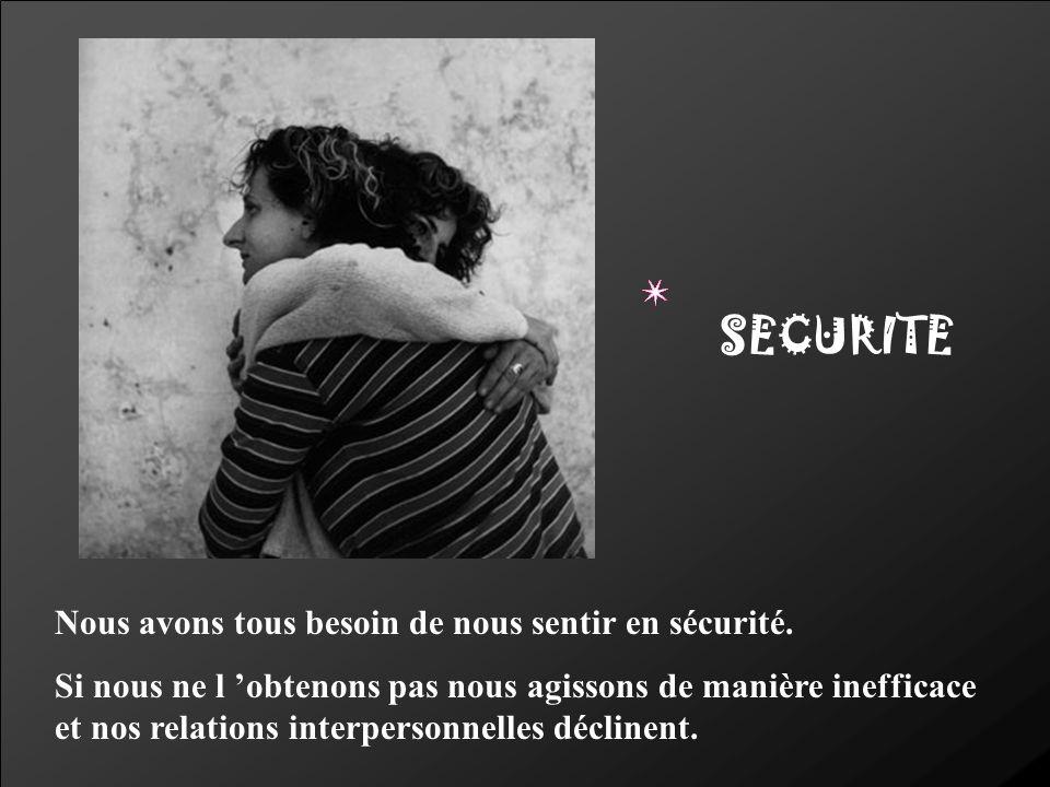 SECURITE Nous avons tous besoin de nous sentir en sécurité.