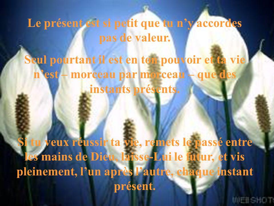 Le présent est si petit que tu n'y accordes pas de valeur.