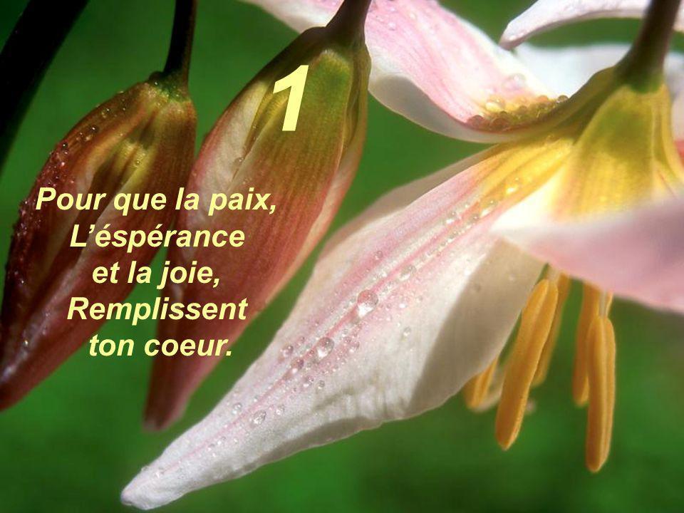 1 Pour que la paix, L'éspérance et la joie, Remplissent ton coeur.
