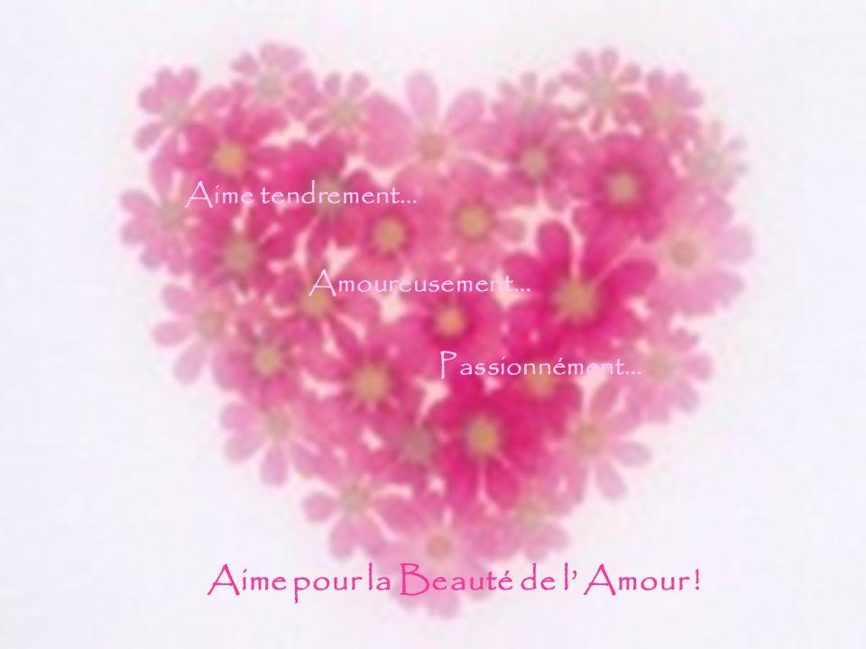 Aime tendrement… Amoureusement… Passionnément… Aime pour la Beauté de l' Amour !