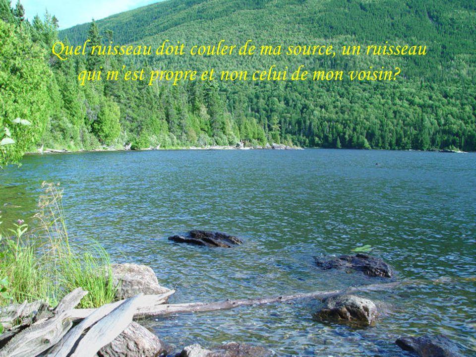 Quel ruisseau doit couler de ma source, un ruisseau qui m'est propre et non celui de mon voisin