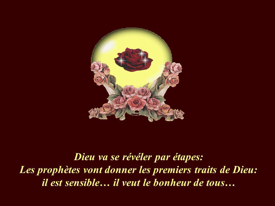 Dieu va se révéler par étapes: Les prophètes vont donner les premiers traits de Dieu: il est sensible… il veut le bonheur de tous…
