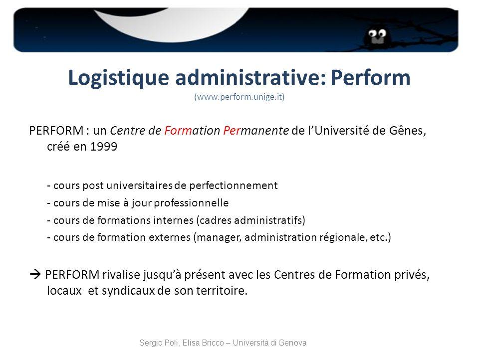 Logistique administrative: Perform (www.perform.unige.it)