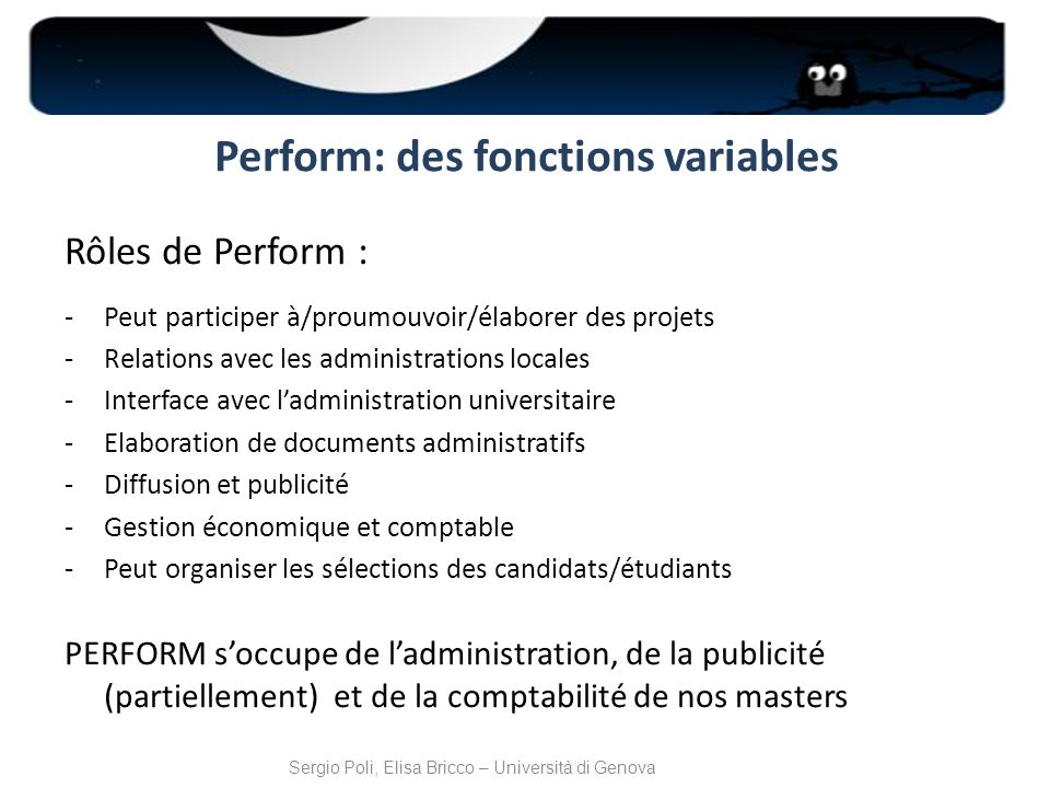 Perform: des fonctions variables