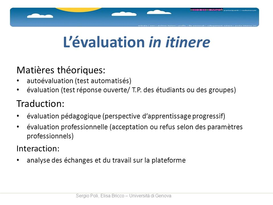 L'évaluation in itinere