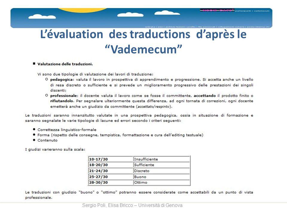 L'évaluation des traductions d'après le Vademecum