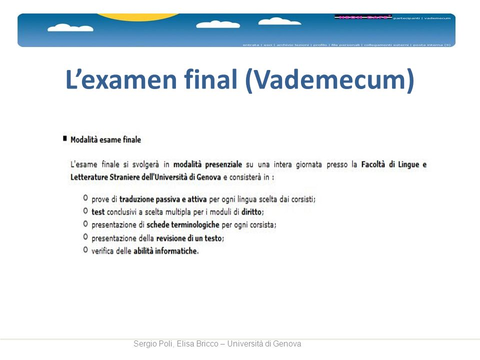 L'examen final (Vademecum)