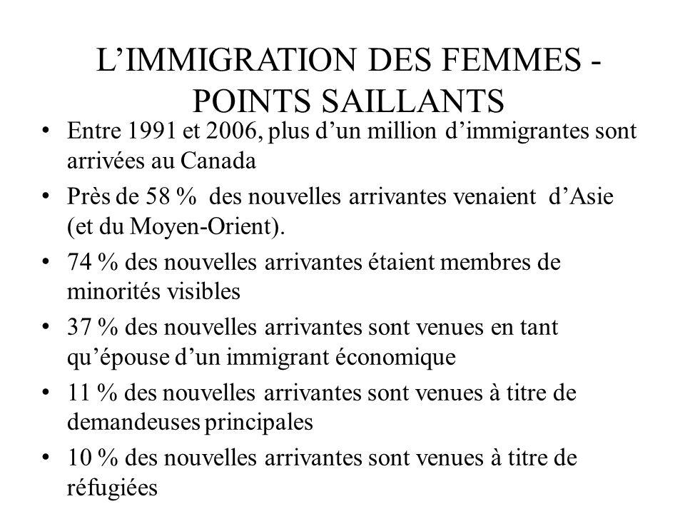 L'IMMIGRATION DES FEMMES -POINTS SAILLANTS