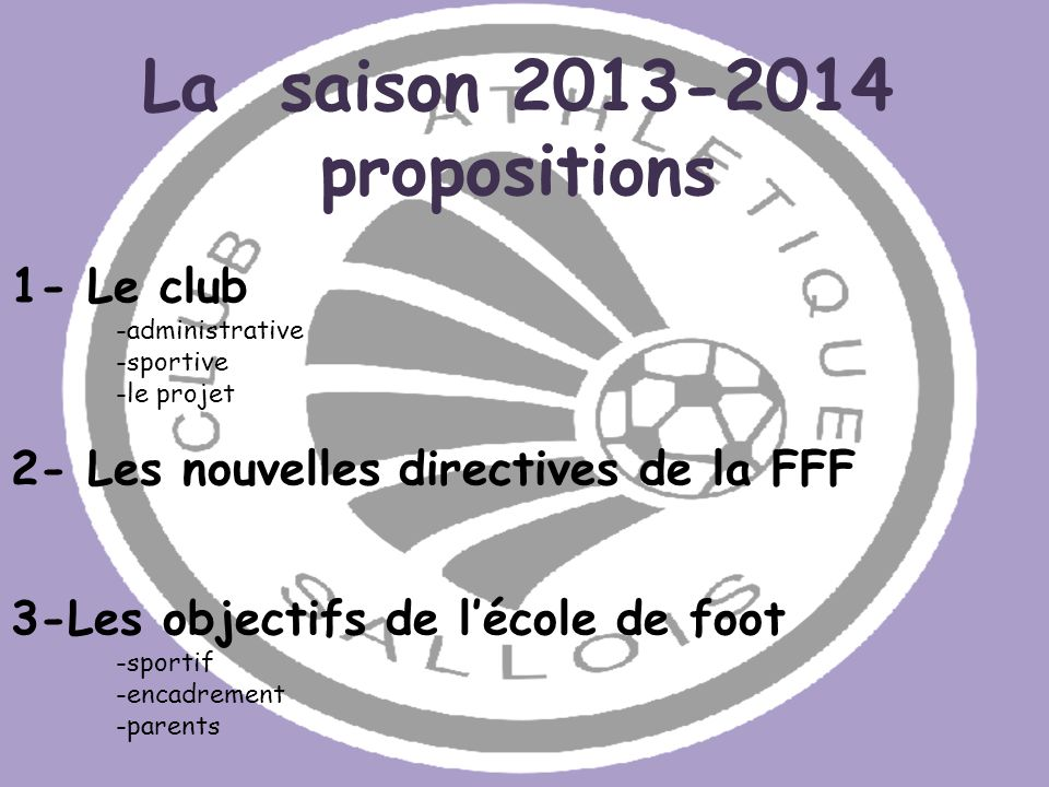 La saison 2013-2014 propositions