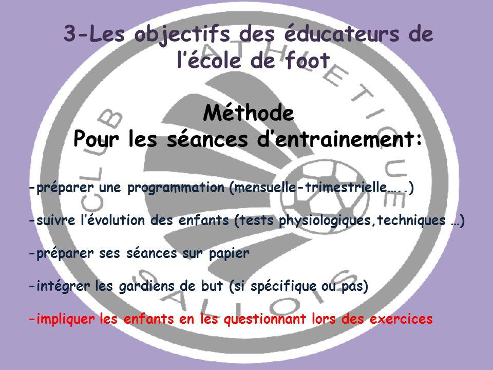 3-Les objectifs des éducateurs de Pour les séances d'entrainement: