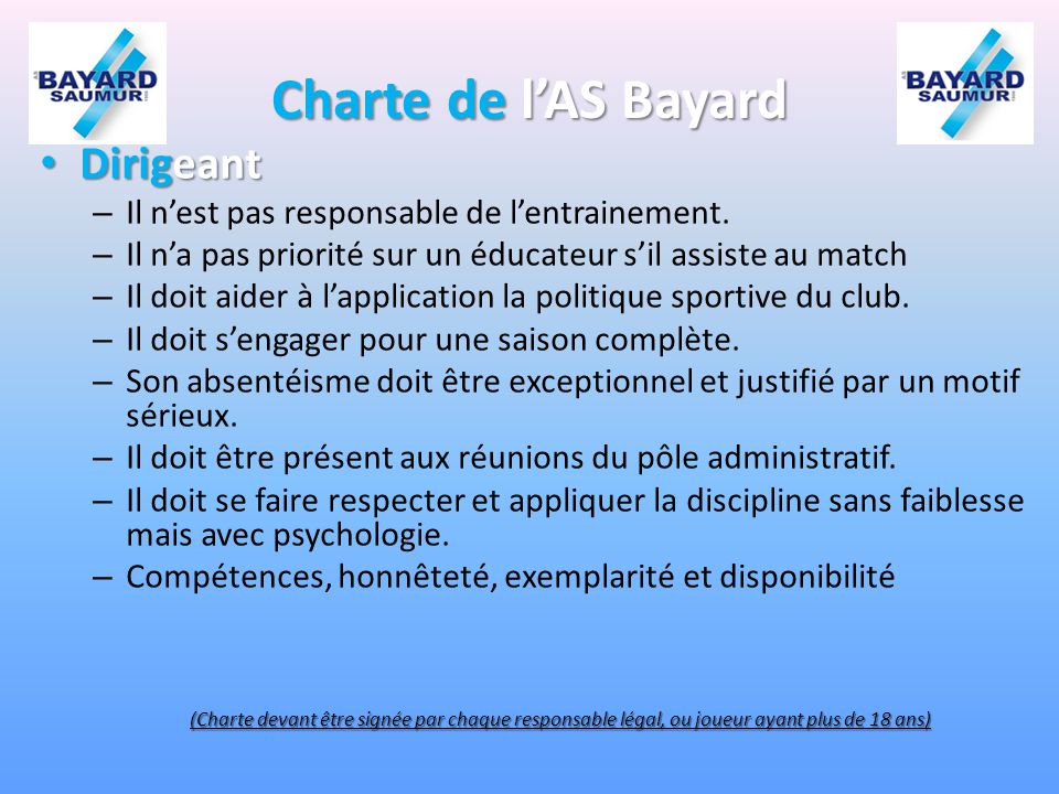 Charte de l'AS Bayard Dirigeant