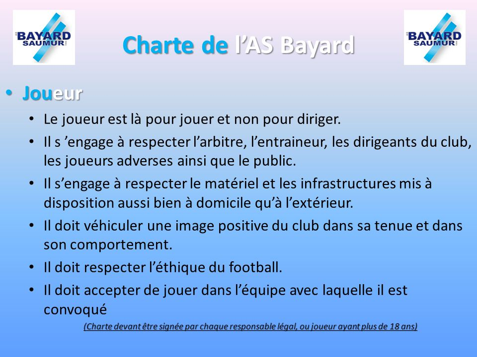 Charte de l'AS Bayard Joueur