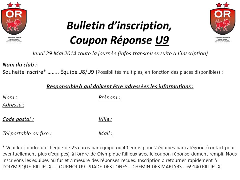 Bulletin d'inscription, Coupon Réponse U9