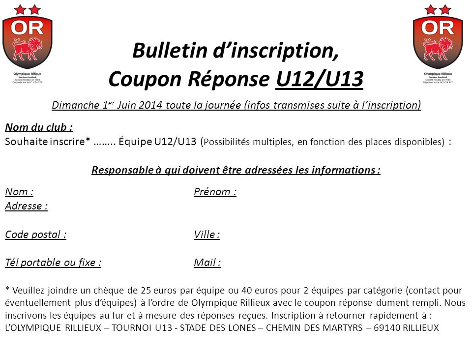 Bulletin d'inscription, Coupon Réponse U12/U13