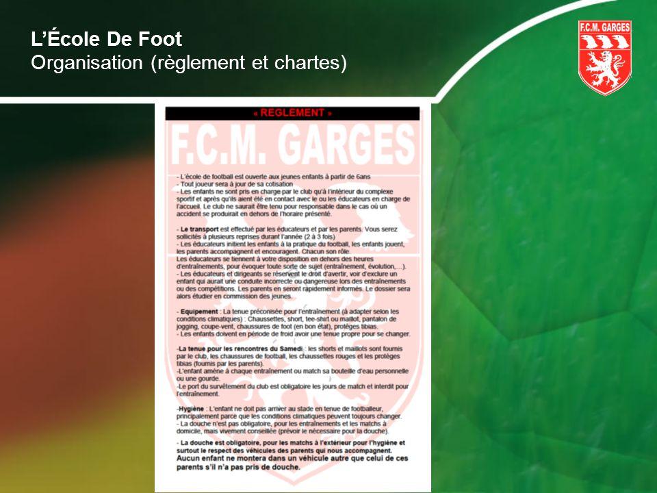 L'École De Foot Organisation (règlement et chartes)