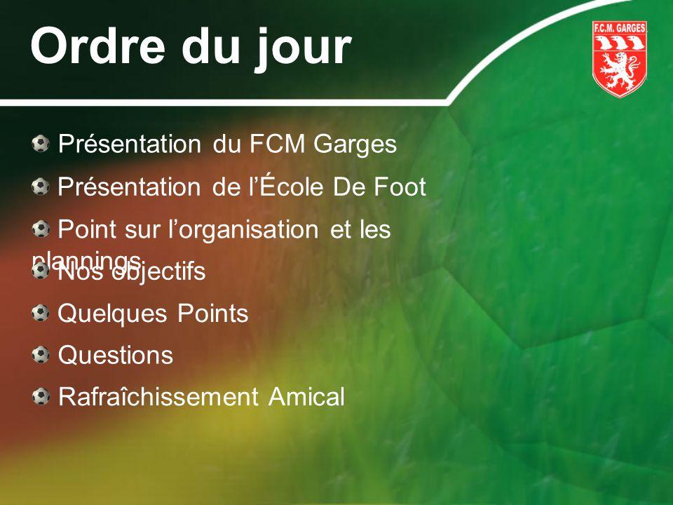 Ordre du jour Présentation du FCM Garges