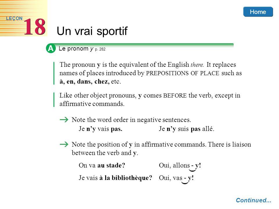A Le pronom y p. 282.
