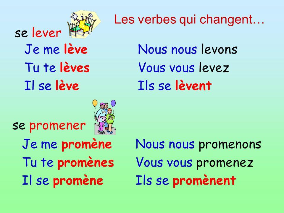 Les verbes qui changent…