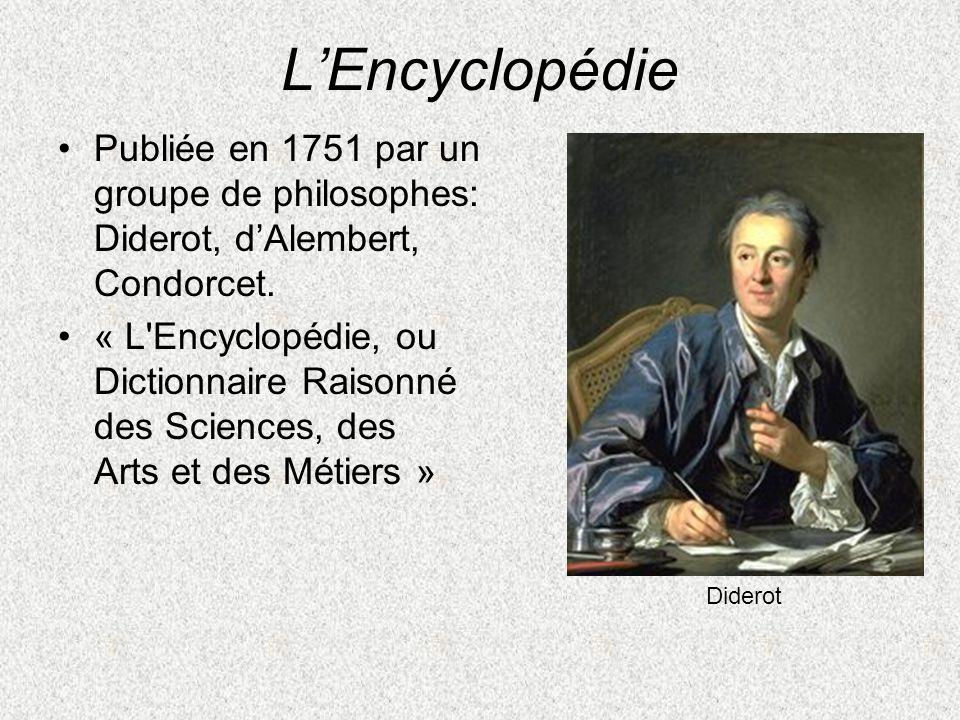 L'Encyclopédie Publiée en 1751 par un groupe de philosophes: Diderot, d'Alembert, Condorcet.