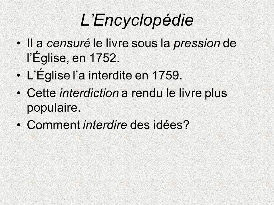 L'Encyclopédie Il a censuré le livre sous la pression de l'Église, en 1752. L'Église l'a interdite en 1759.