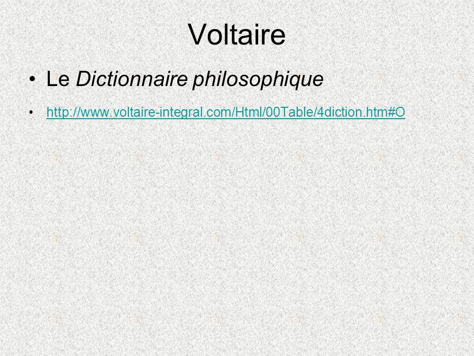 Voltaire Le Dictionnaire philosophique
