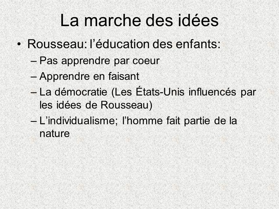 La marche des idées Rousseau: l'éducation des enfants: