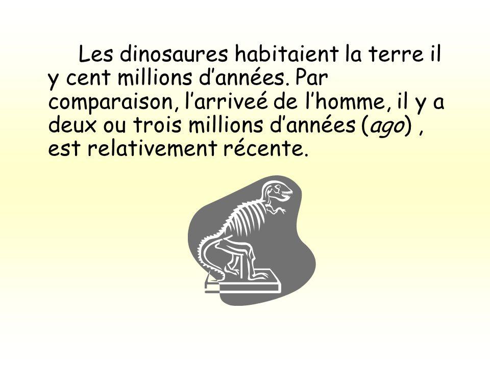 Les dinosaures habitaient la terre il y cent millions d'années
