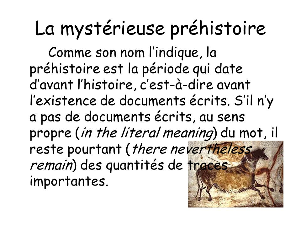 La mystérieuse préhistoire