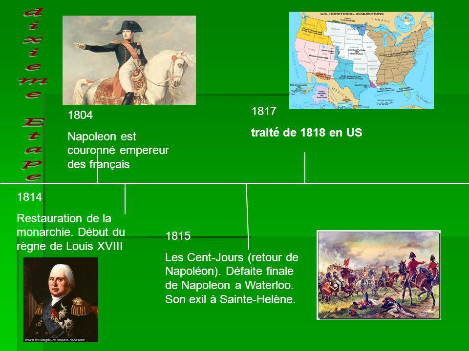 dixieme Etape 1817 1804 traité de 1818 en US
