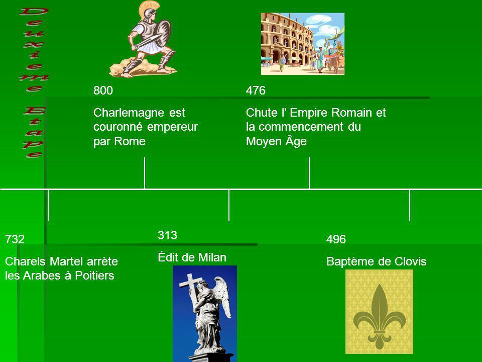 Deuxieme Etape 800 Charlemagne est couronné empereur par Rome 476
