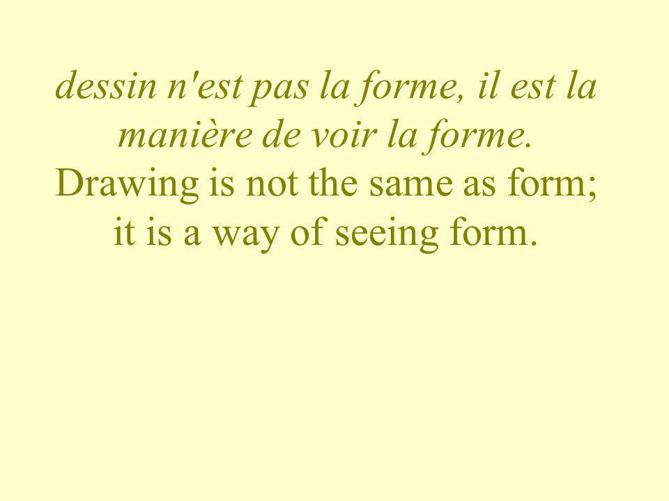 dessin n est pas la forme, il est la manière de voir la forme