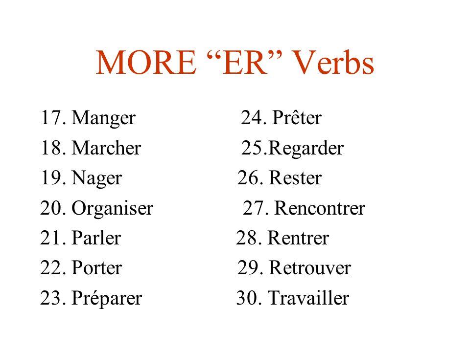 MORE ER Verbs 17. Manger 24. Prêter 18. Marcher 25.Regarder