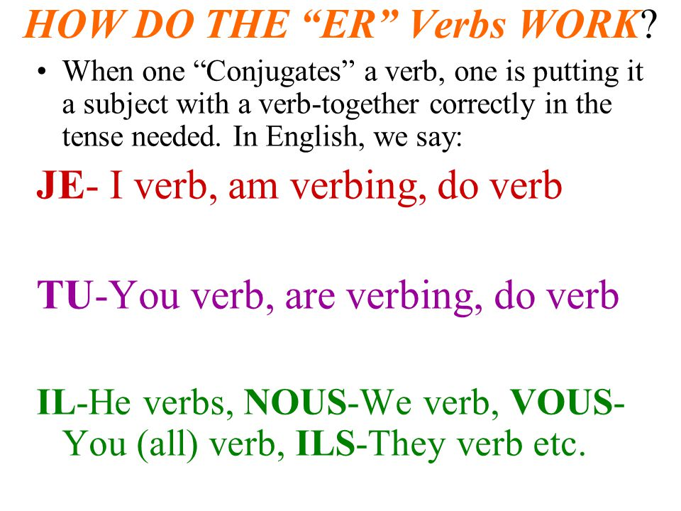 HOW DO THE ER Verbs WORK