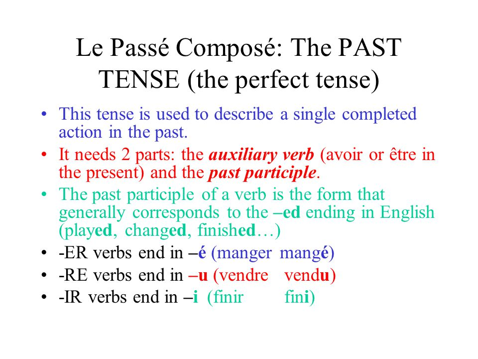 Le Passé Composé: The PAST TENSE (the perfect tense)