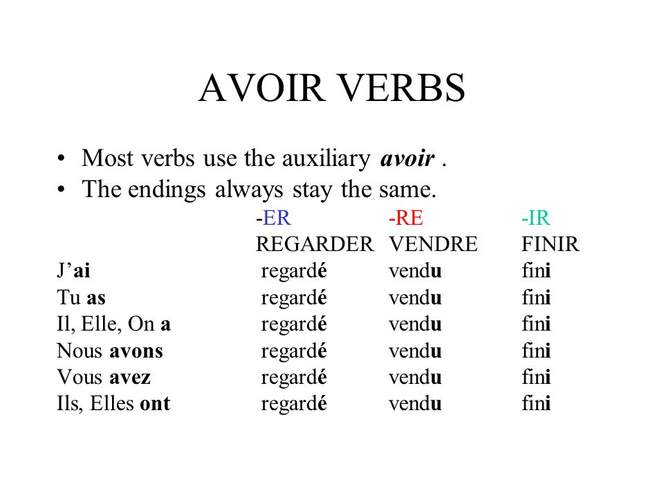 AVOIR VERBS Most verbs use the auxiliary avoir .