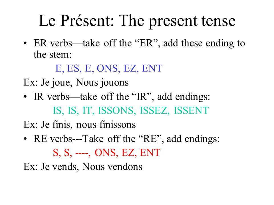 Le Présent: The present tense