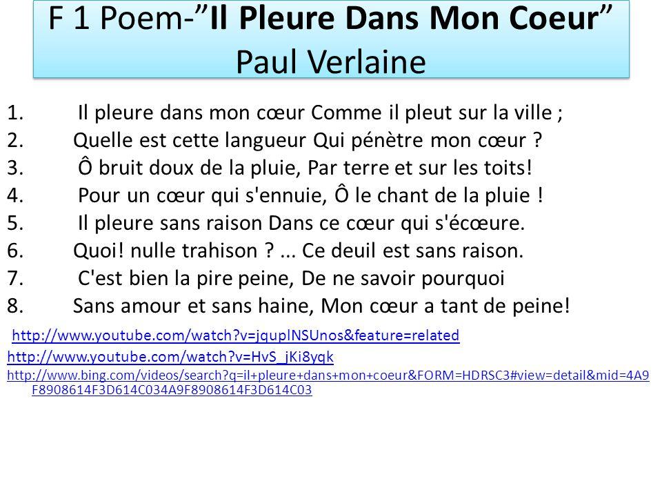 F 1 Poem- Il Pleure Dans Mon Coeur Paul Verlaine