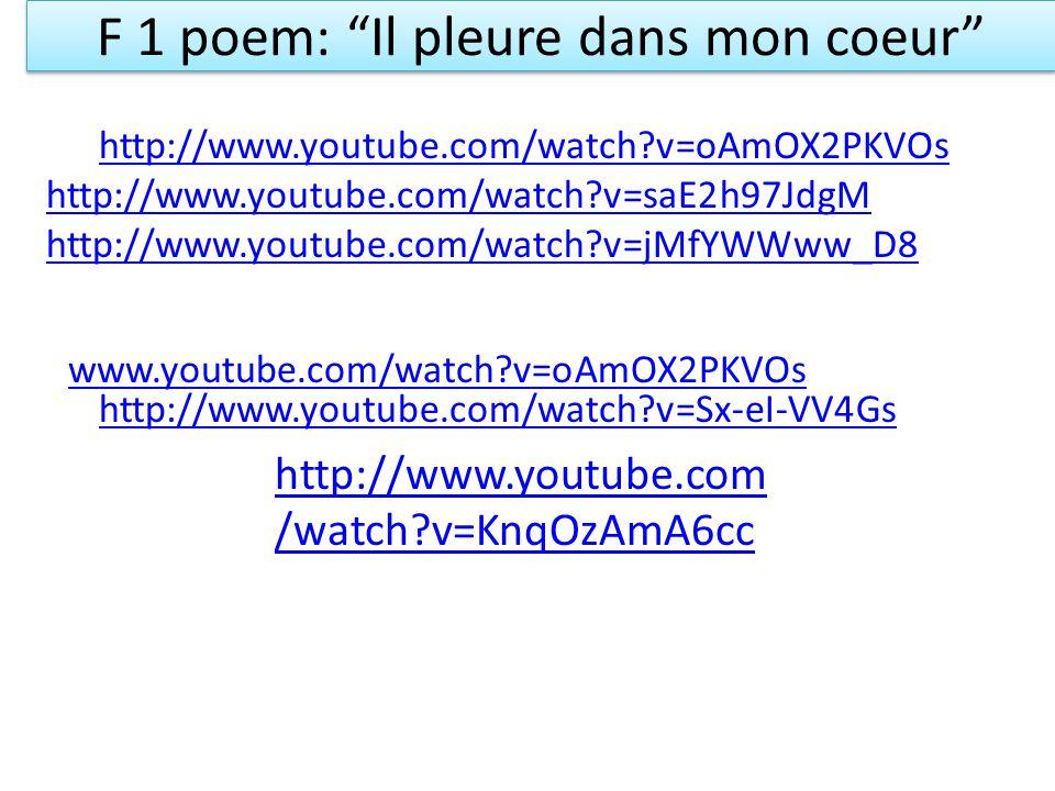 F 1 poem: Il pleure dans mon coeur
