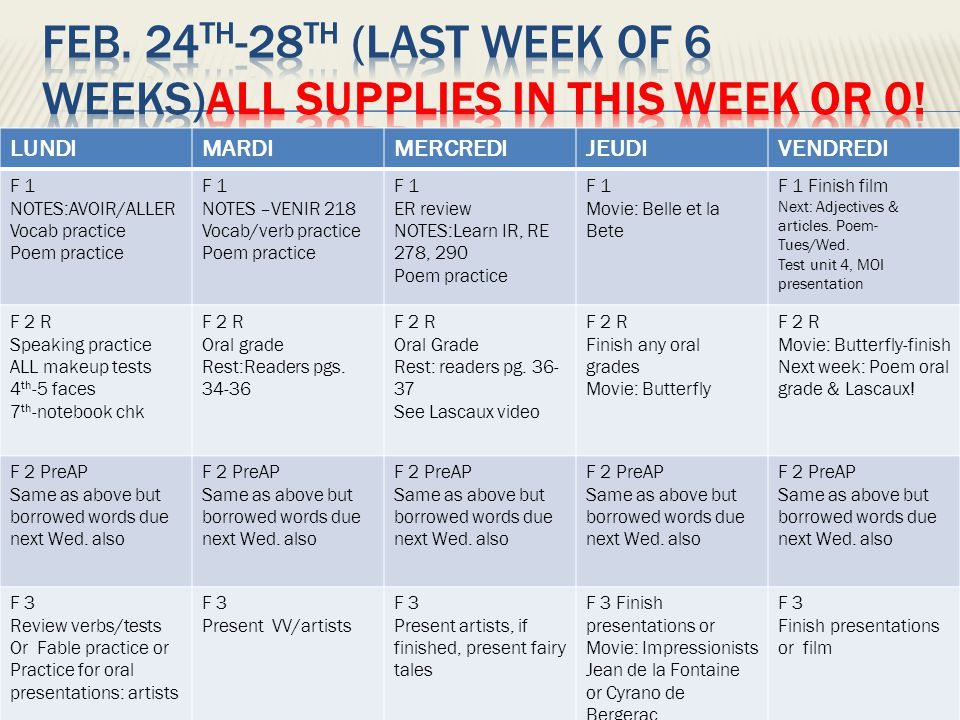 Feb. 24th-28th (last week of 6 weeks)ALL SUPPLIES IN THIS WEEK OR 0!