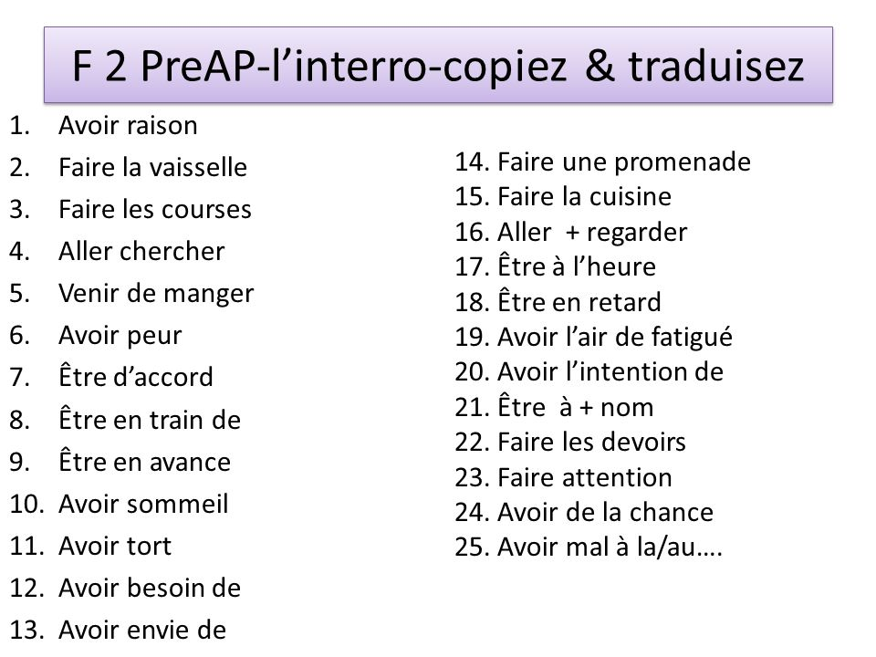F 2 PreAP-l'interro-copiez & traduisez