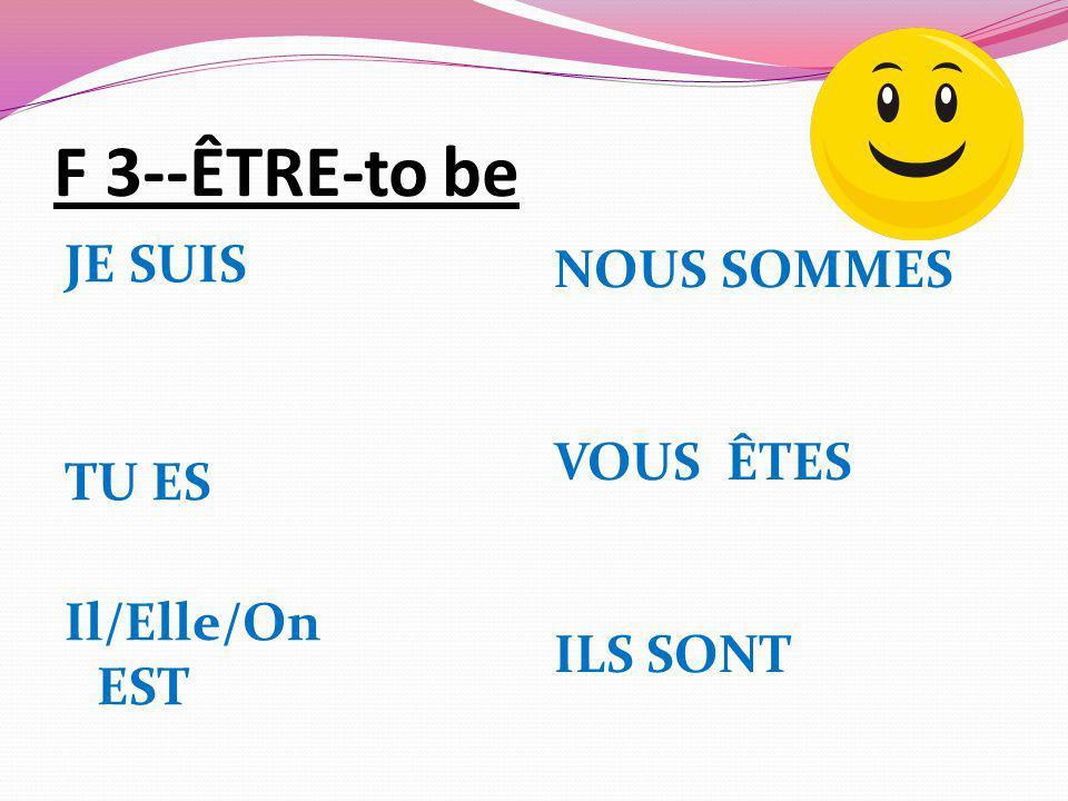 F 3--ÊTRE-to be JE SUIS TU ES Il/Elle/On EST NOUS SOMMES VOUS ÊTES