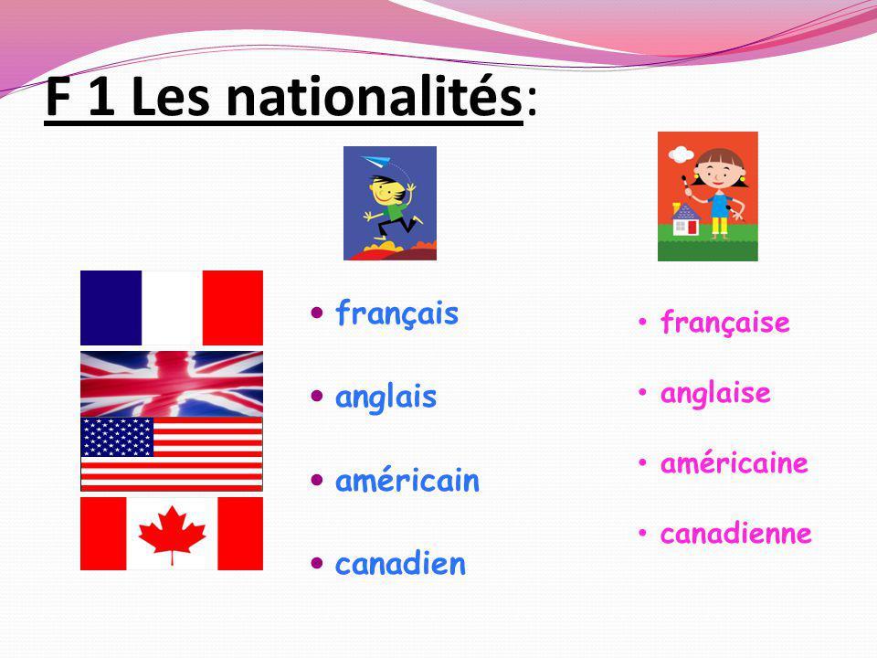 F 1 Les nationalités: français anglais américain canadien française