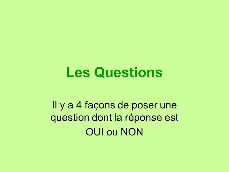 Il y a 4 façons de poser une question dont la réponse est OUI ou NON