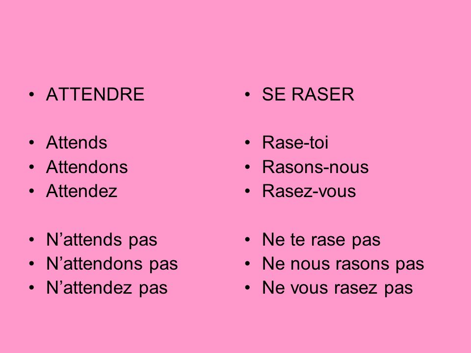 ATTENDRE Attends. Attendons. Attendez. N'attends pas. N'attendons pas. N'attendez pas. SE RASER.